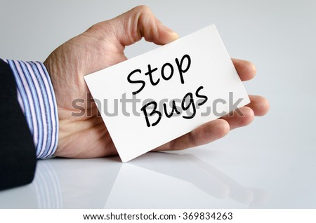 Stop bugs text concept isolated over white background - stock photo