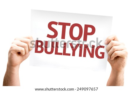 Stop Bullying card isolated on white background - stock photo