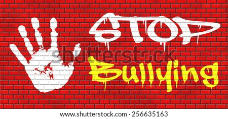 stop bullying graffiti no bullies prevention against school work or in the cyber internet harassment graffiti on red brick wall, text and hand. - stock photo