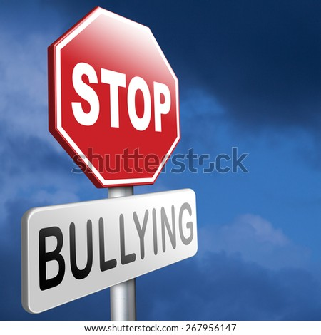 stop bullying prevention for no bullies at school work or in the cyber internet - stock photo