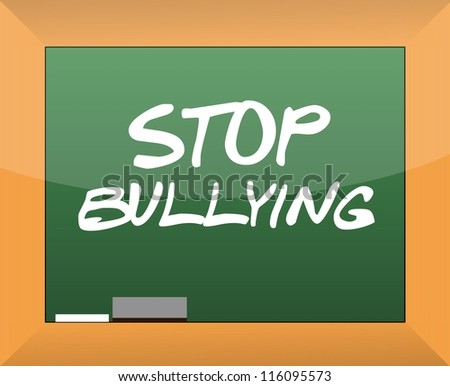 stop bullying text written on a blackboard illustration design - stock photo