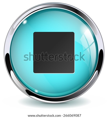 Stop button. Glossy icon with metallic frame. Isolated on white background. Raster version - stock photo