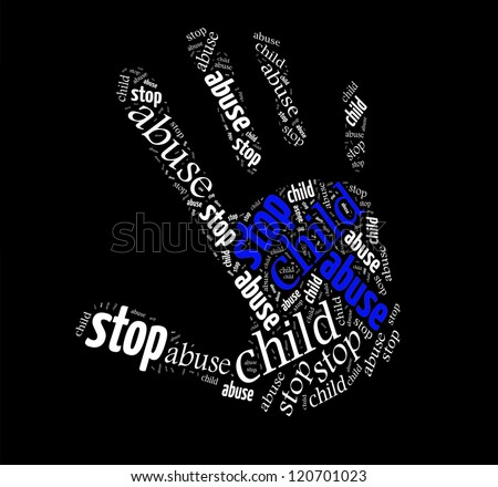 Stop Child Abuse sign words clouds shape isolated in black background - stock photo