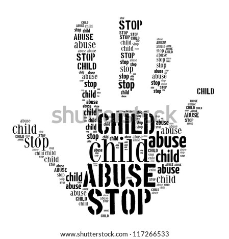 Stop Child Abuse sign words clouds shape isolated in white background - stock photo