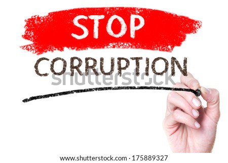 Stop Corruption handwritten on glass - stock photo