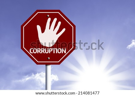 Stop Corruption red sign with sun background  - stock photo