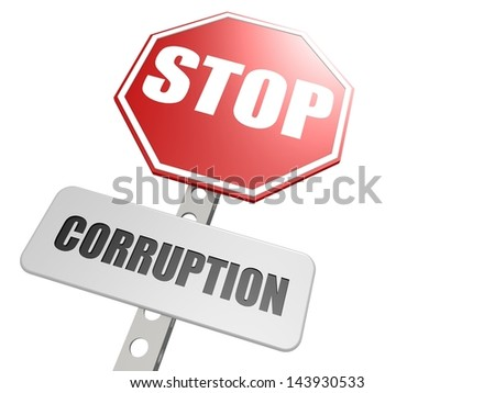 Stop corruption road sign - stock photo