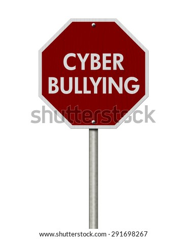 Stop Cyber Bullying Road Sign, Stop sign with words stop Cyber Bullying isolated on white - stock photo