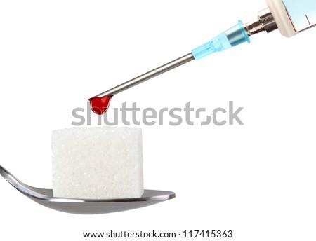 Stop Diabetes,insulin syringe on white background - stock photo