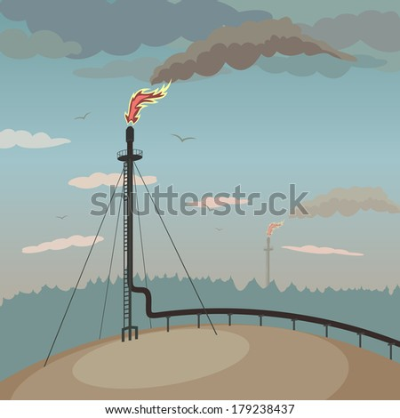 Stop flaring and venting natural gas - save the Earth. Eco poster - stock photo