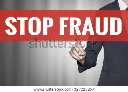 Stop Fraud word on virtual screen push by business woman red tab - stock photo