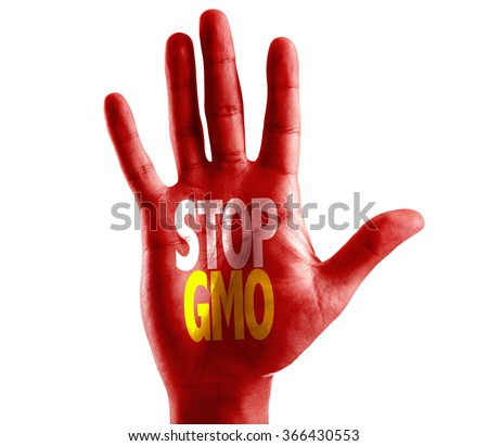 Stop GMO written on hand isolated on white background - stock photo