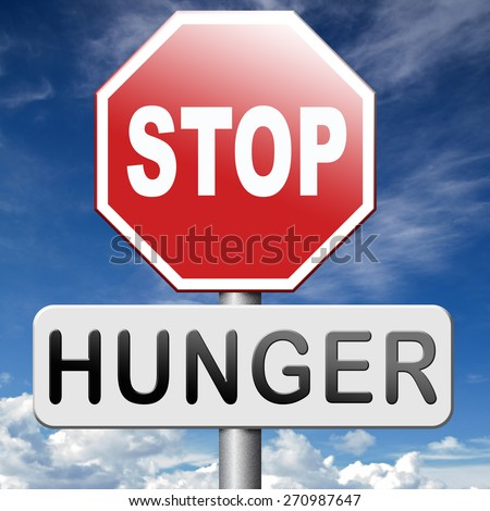 stop hunger feed the world no suffering malnutrition starvation and famine caused by food scarcity undernourished bad harvest aid - stock photo