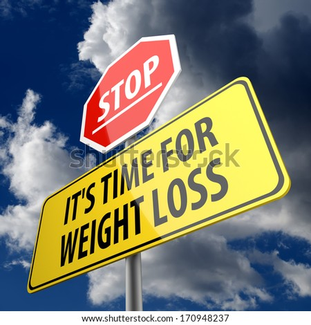 Stop it is time for weight loss words on road sign - stock photo