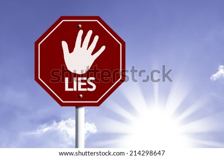 Stop Lies red sign with sun background  - stock photo