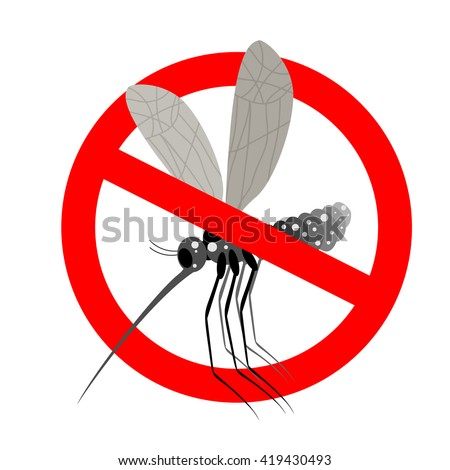 Stop mosquito. Forbidden Zika virus. Frozen mosquito insect. Emblem against virus Zika. Emblem against malaria. Red forbidding character. Ban flying Bloodsucker insect mosquito - stock photo