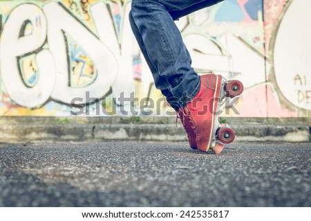 stop move on the skates. concept about leisure and fun. Skater boy performing special move - stock photo