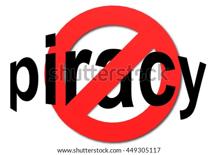 Stop piracy sign in red with white background, 3D rendering  - stock photo