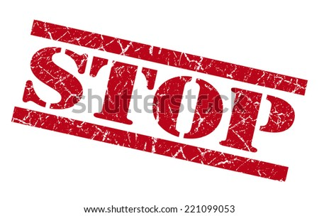 stop red grunge stamp isolated on white - stock photo