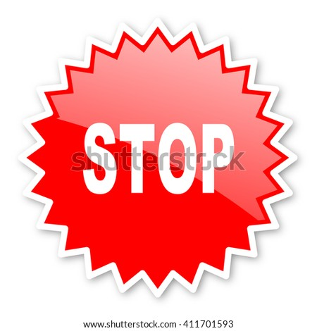 stop red tag, sticker, label, star, stamp, banner, advertising, badge, emblem, web icon - stock photo