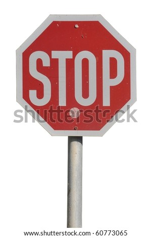 stop road sign isolated on white background - stock photo