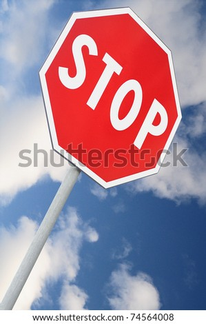 Stop road sign with falling perspective - stock photo