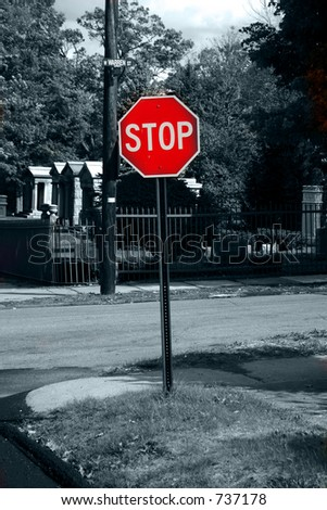 Stop, selective color - stock photo