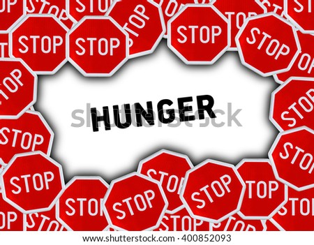 Stop sign and word hunger - stock photo