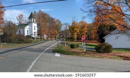 Stop sign at road side, Niagara Falls, Ontario, Canada - stock photo