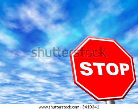 stop sign frame against blue sky - stock photo