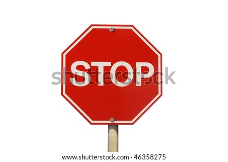 Stop sign isolated on white background - stock photo
