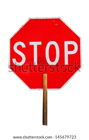 Stop Sign isolated on white with room for your text - stock photo