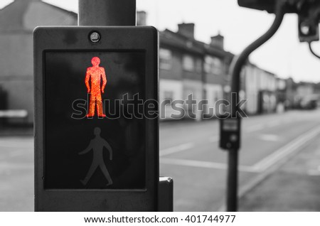 stop sign on a pedestrian crossing - stock photo