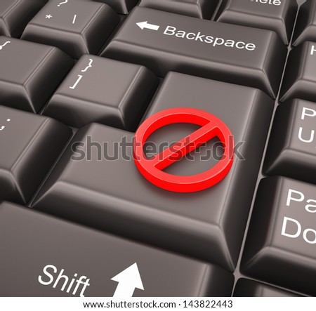 Stop sign on enter key - stock photo