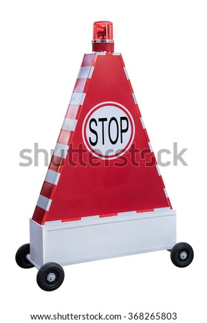 Stop sign on triangle light box on scroll wheel with red siren light on top,work with clipping path, - stock photo