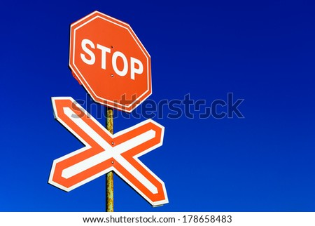 Stop sign railway - stock photo