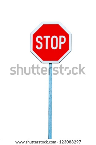 Stop sign, traffic sign isolated on white. - stock photo