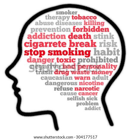 Stop smoking habit in word cloud concept - stock photo