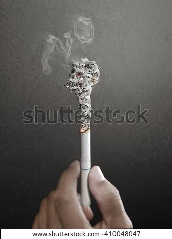 Stop smoking will be late. concept for tobacco day made by retouch - stock photo
