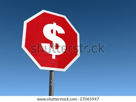 Stop spending sign. - stock photo