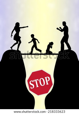 Stop the Family Fight. Concept sign to avoid or end domestic violence with children as main victims - stock photo