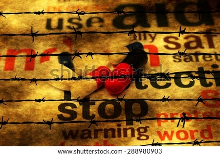 Stop using pills concept against barbwire - stock photo