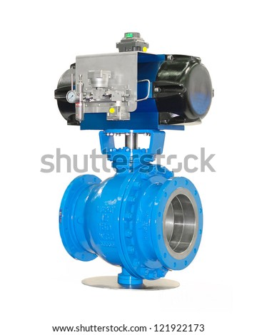 Stop valves high pressure with automatic drive - stock photo