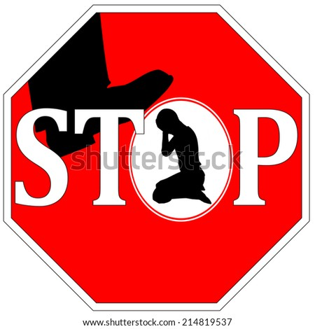 Stop violence against women. Concept sign to ban any kind of violence against girls and women  - stock photo