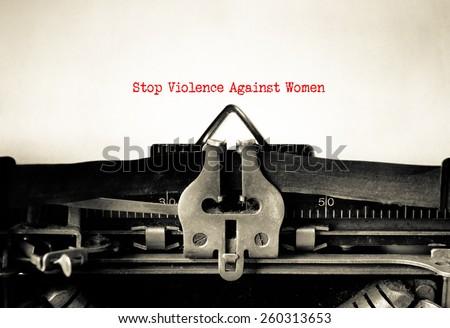 Stop violence against women written on vintage typewriter - stock photo