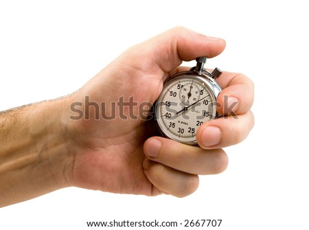 Stop-watch in a hand, isolated on white, clipping path included - stock photo