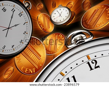 Stop watches and coins on black background - stock photo