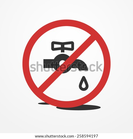 Stop water leak sign, water tap and drop icon - stock photo