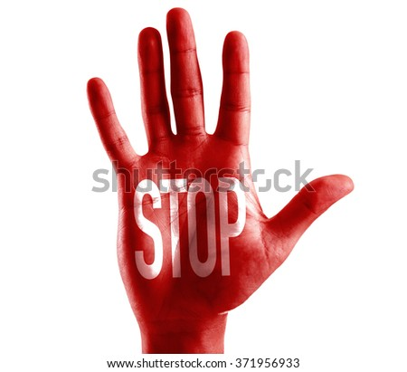 STOP written on hand isolated on white background - stock photo
