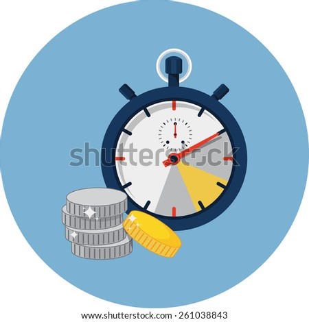 Stopwatch and Coins  - stock photo